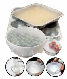 SILI-STRETCH BOWL COVERS http://www.coast2coastkitchen.com/store/clean-and-store/sili-stretch-bowl-covers