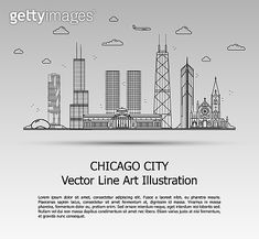 Line Art Vector Illustration of Modern Chicago City with Skyscrapers. Flat Line Graphic. The Most Famous Buildings Cityscape on Gray Background. Line Art Vector, Sign Up Page, Cloud Icon, City Vector, Famous Buildings, Chicago City, Kids Logo, Skyscrapers, Gray Background