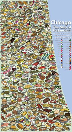 Chicago Map of Restaurants, very busy but cool #infographic