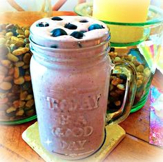 Yummy! This smoothie is not vegan, it has the animal products in it but it was made for my bf!! Isn't it pretty though?  Here's what's in it for those who consume Whey: Cup of Milk, 1 scoop vanilla superfood powder, 1/2 frozen banana, Splash of water, several ice cubes, Handful of frozen blueberries topped with fresh ones!! Super simple, yet delicious, energy and protein packed, and perfect for our post workout hunger! REPIN if you are a smoothie person! #cleantreats #smoothies #superfoods