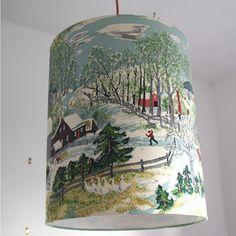 Grandma Moses vintage barkcloth lampshade by FollyandGlee