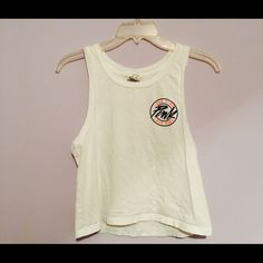 Muscle tee White muscle tee with multi colored design PINK Victoria's Secret Tops Muscle Tees