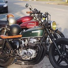 Great picture by @greasyhands 73 CB750 and 75 CB500t