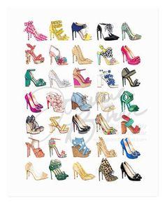 All The Shoes Fashion Art Print