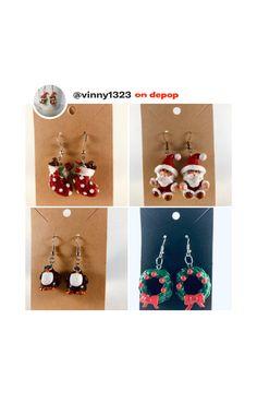 Miniature Christmas, Polymer Clay Earrings, Miniatures, Drop Earrings, Jewelry, Jewlery, Jewerly, Schmuck, Drop Earring