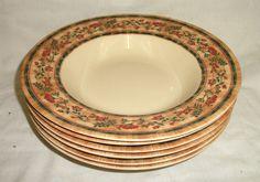 6 x 9  Johnson Brothers McBaine Ozark Rimmed Soup Bowls - unused
