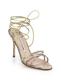 Manolo Blahnik Snakeskin-Embossed Leather Ankle Tie Sandals