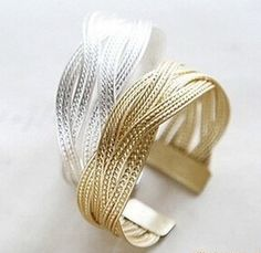 2016 New Fashion Alloy Knitted Twisted Metal Rattan Women Wide Bracelet Woven Women Cuff Bracelets Bangles men jewelry XY-B16