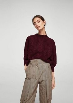 Úpletový svetr s copánkovým vzorem | MANGO
