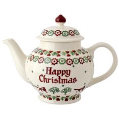 Emma Bridgewater Happy Christmas personalised Christmas Joy Teapot, bands of Christmas motifs and lettering in green and red on white body, earthenware, Stoke-on-Trent, UK Christmas China, Christmas Dishes, Christmas Snacks, Christmas Tea, Christmas Kitchen, Emma Bridgewater Pottery, Tea Sandwiches, Teapots And Cups, Pot Sets
