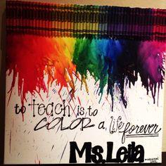 Teacher Appreciation Gift -- melted crayon art