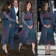 Kate Middleton wearing Blue LK Bennett dress for the dinner for Barrack Obama and Michelle Obama at Kensington palace.