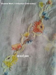 Shadow Work / Chikankari Embroidery on an Organdy saree . muskaan's T*I*P*S: Embroidery 2 : Shadow Work Embroidery Leaf, Embroidery Patches, Embroidery Patterns, Embroidery Suits, Learning To Embroider, Herringbone Stitch, Types Of Stitches, Blanket Stitch, Back Stitch