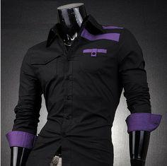 Striped Shoulder Dress Shirt | Deal Man
