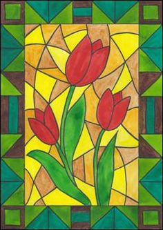 Květiny – vitráž - My site Stained Glass Quilt, Stained Glass Flowers, Stained Glass Patterns, Art Drawings For Kids, Easy Drawings, Art For Kids, Spring Art, Spring Crafts, Glass Painting Designs