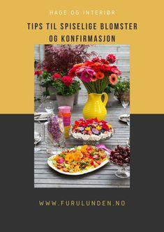 Det er kjent for de fleste at det finnes mange spiselige blomster. De brukes mest til pynt, men kan også has i supper, salater, bakes inn i kaker og fryses inn i isbiter for å nevne noe. Ta en titt i artikkelen, her får du i tillegg til blomster tips til andre ting som har med konfirmasjon å gjøre #spiseligeblomster #hagetips #matfrabunnenav #konfirmasjon #pynt #borddekking Gardening Tips, Table Decorations, Home Decor, Decoration Home, Room Decor, Home Interior Design, Dinner Table Decorations, Home Decoration, Interior Design