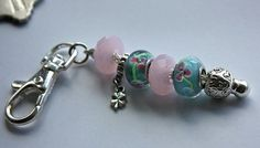 Purse Charm Beaded Keychain in Turquoise and Pink by onthewallusa, $6.00