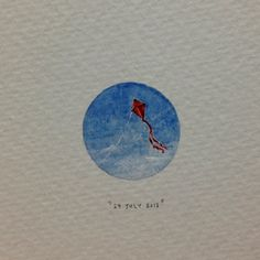 "Day 200 : ""The truth is rarely pure and never simple"" - Oscar Wilde. 20 x 20 mm. #365paintingsforants #miniature #watercolor #red #kite (at Vredehoek)"