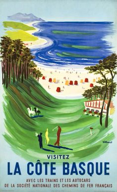Bernard Villemot original vintage travel poster from 1957 La Cote Basque Chemins de Fer. Vintage Posters are perfect decorating idea for an office or living room. Retro Poster, Poster Vintage, Vintage Travel Posters, Vintage Art, French Vintage, Vintage Golf, Tourism Poster, Travel Tourism, Golf Art