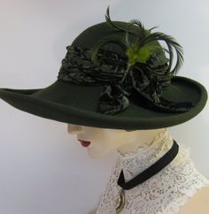 Edwardian Inspired Capeline Hat/ Olive by ThistleCottageStudio, $275.00