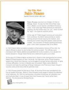 "Lots of artists posters ""Meet Pablo Picasso Pablo Picasso, Kunst Picasso, Picasso Art, Middle School Art, Art School, High School, Art Handouts, Art Worksheets, Artist Biography"