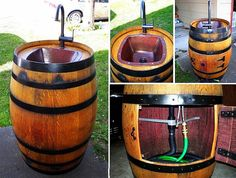 diy outdoor projects You can make many furniture with wine barrel, such as coffee table, cooler, pet bed that we have featured. Here is another creative idea -- Turn A Wine Backyard Projects, Outdoor Projects, Diy Projects, Backyard Ideas, Wine Barrel Sink, Wine Barrels, Barrel Sink Bathroom, Water Barrel, Bar Deco