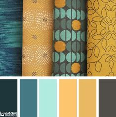 """Living Room-Color Palette: Blue, Aqua, Yellow, Gold, Gray - The """"Runway"""" Collection - Patterns and Fabrics designed by Pattern Pod for Douglass Industries Room Colors, House Colors, Paint Colors, Colours, Blue Colour Palette, Colour Schemes, Color Patterns, Color Combinations, Color Blue"""