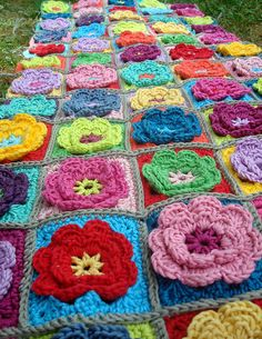 flowers crochet granny squares roses