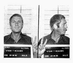 Steve McQueen Mugshot. Arrested for reckless driving. Anchorage, Alaska. 1972.