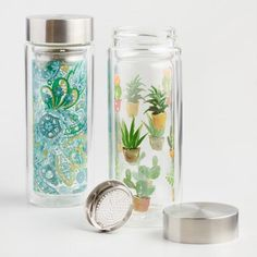 Cost Plus World Market Botanical Glass Tea Infuser Carafes Set of 2