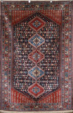 Persian Hand-Knotted Yalameh Rug in Wool - Ref: 384 - 2.40m x 1.58m