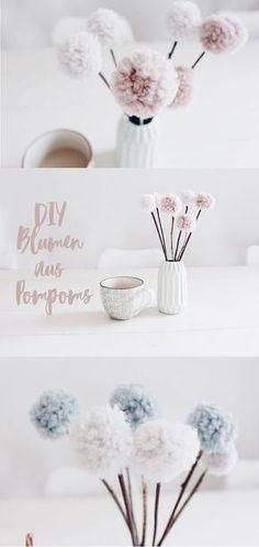Diy Blumen aus Wolle. Pom Poms selber machen.