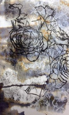 Mono-print on developed surface, Eleanor - Like how she has worked onto of an already developed surface. Adds extra depth and interest to the work Monoprint Artists, Printmaking, Textile Prints, Art Prints, Textiles, Gelli Plate Printing, Collagraph, A Level Art, Encaustic Art
