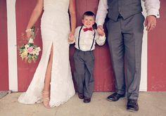 A great picture of the bride and groom with their ring bearer. My sweet grandson, Eli and his Aunt Jessica. @Alison Hobbs Howell