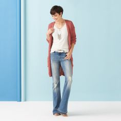 Inspiration Gallery   Stitch Fix Style...   I already Have a sweater that would work perfect with this flare jeans and white-t combo!