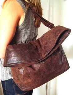 Brown Handbag Flop Bag Crossbody Sac Vegan Faux by PippiHepburn