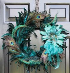 Peacock Feather Wreath Summer Wreath Home Decor by OurSentiments Peacock Wreath, Feather Wreath, Peacock Decor, Peacock Theme, Peacock Feathers, Peacock Colors, Peacock Bedroom, Green Peacock, Pheasant Feathers