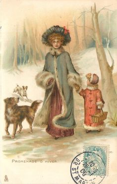 PROMENADE D'HIVER,1905, France Christmas Swags, Christmas Past, Victorian Christmas, Christmas Journal, Vintage Christmas Images, Christmas Photos, Vintage Greeting Cards, Vintage Postcards, Decopage