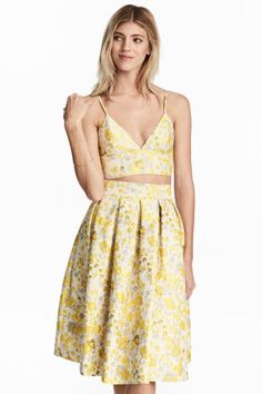 Bustier en tejido jacquard - Beige claro/Floral - MUJER   H&M ES 1