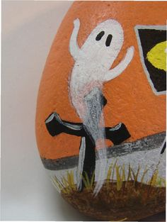 Haunted Trailer camper RV Halloween hand painted rock by RocksOK