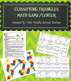 Classifying Triangles Math Game/Math Center: This is a great station or activity for students practicing classifying triangles by sides lengths or angles.   Students play in groups of 2-4. They flip one card over. Everyone in the group tries to accurately complete the problem (this is not a race!). Once everyone has finished, they check answers.. All students with correct answers get to roll the dice. Whatever they roll is the number of spaces they move on the game board.