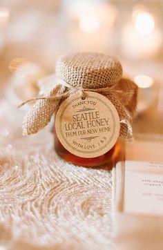 Featured Photographer: Natalie Franke Photography; Adorable honey jar wedding favor