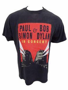 Vintage Paul Simon Bob Dylan 1999 Never Ending Concert Tour Shirt Size L Music #unknown #GraphicTee
