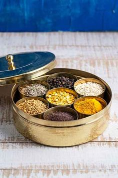 Zishta brings you the authentic hand crafted Brass Spice Box (Masala Dabba) which fits into your modern kitchen with ease. Kitchen Items, Kitchen Utensils, Kitchen Decor, Kitchen Tools, Cooking Utensils, Kitchen Stuff, Kitchen Storage, Kitchen Design, Indian Spice Box