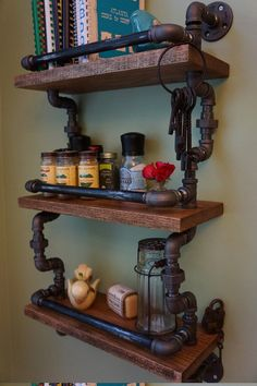 Industrial three tier spice rack  http://www.etsy.com/listing/151963431/gourmet-kitchen-three-level-with-catch