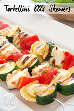 Sweet chilli tortellini skewers, with halloumi, courgette and peppers. Cook them on the BBQ!