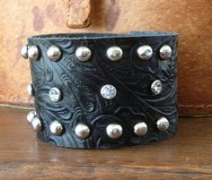 embossed BLACK leather cuff bracelet with studs & by whackytacky, $39.99