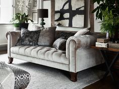 A sofa that's bound to impress, the Alexander & James Vivienne Midi Sofa is made to give any living room that added luxury look. Velvet Couch Living Room, Pallet Furniture, Silver Sofa, Furniture, Fabric Sofa, Living Room Sofa, Crushed Velvet Sofa, Sofa Decor, Room