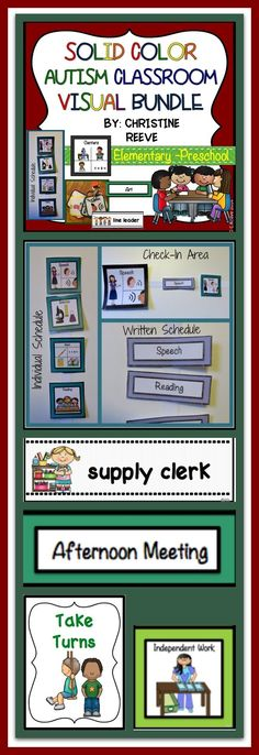 Solid Color Autism Preschool-Elementary Classroom Visual Bundle  This set of visual supports has what you need to set up your special education classroom for students with autism or other disabilities and make it visually attractive and bright with solid colors for students who need reduced distractions. Includes picture schedules, written schedules, visual cueing for receptive language, classroom rules, and classroom jobs all with single color frames accenting the visuals. $11