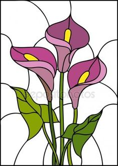 White Aethiopica Calla Lilies: imagens, fotos e vetores stock Pink flowers bouquet - Calla lily, vector illustration in stained glass window - stock vector Stained Glass Patterns Free, Stained Glass Quilt, Stained Glass Flowers, Faux Stained Glass, Stained Glass Designs, Stained Glass Panels, Stained Glass Projects, Pink Flower Bouquet, Pink Flowers